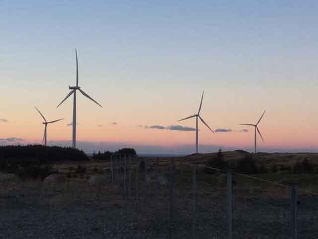 Image of wind turbines at night