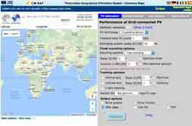 Screenshot of calculator for photovoltaic solar cells for africa and asia