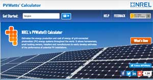 Screen shot of PV Watts solar energy calculator