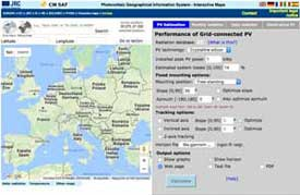 Screenshot of calculator for photovoltaic solar cells for europe